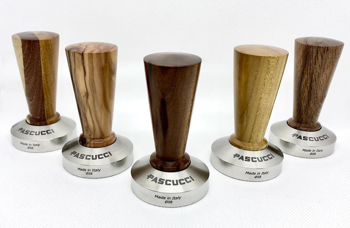 Caffè Pascucci wood coffee tampers